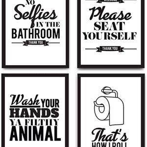 Typography Bathroom Wall Art & Pictures (Unframed)